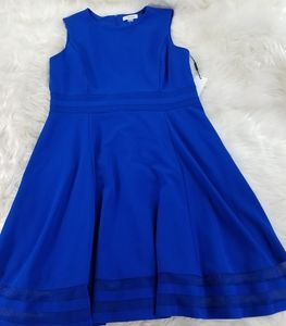 Calvin Klein royal blue NWT fit flare dress sz 14